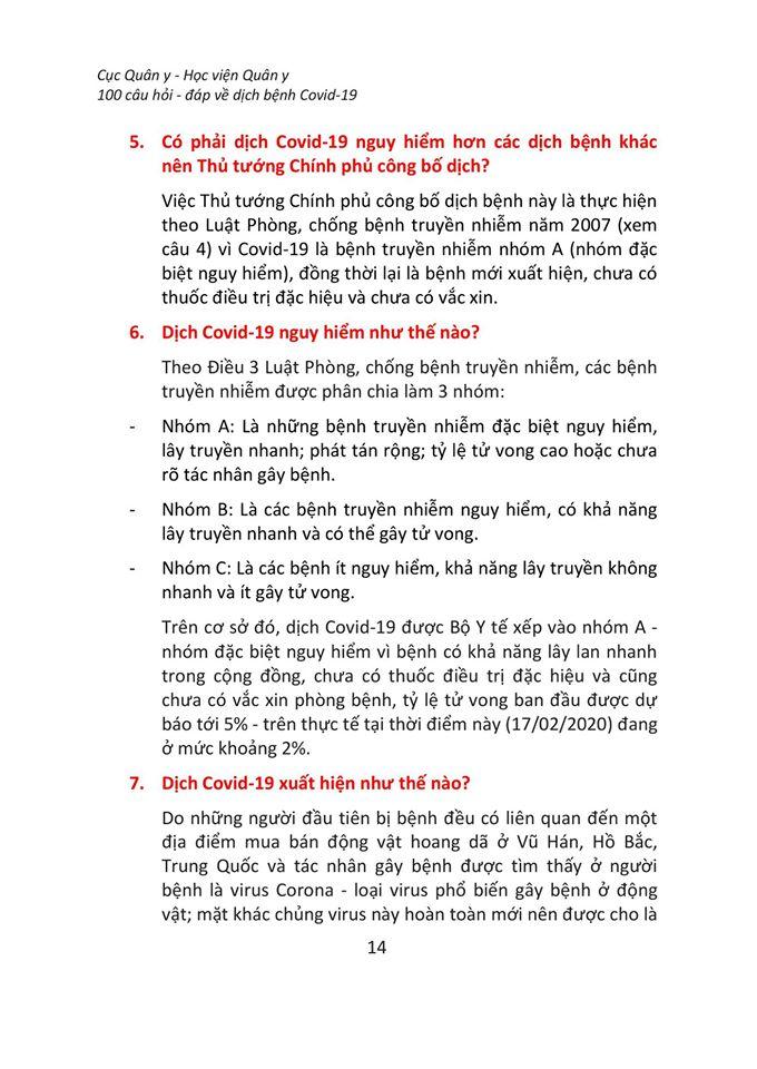 100 câu hỏi đáp về dịch bệnh Covid-19
