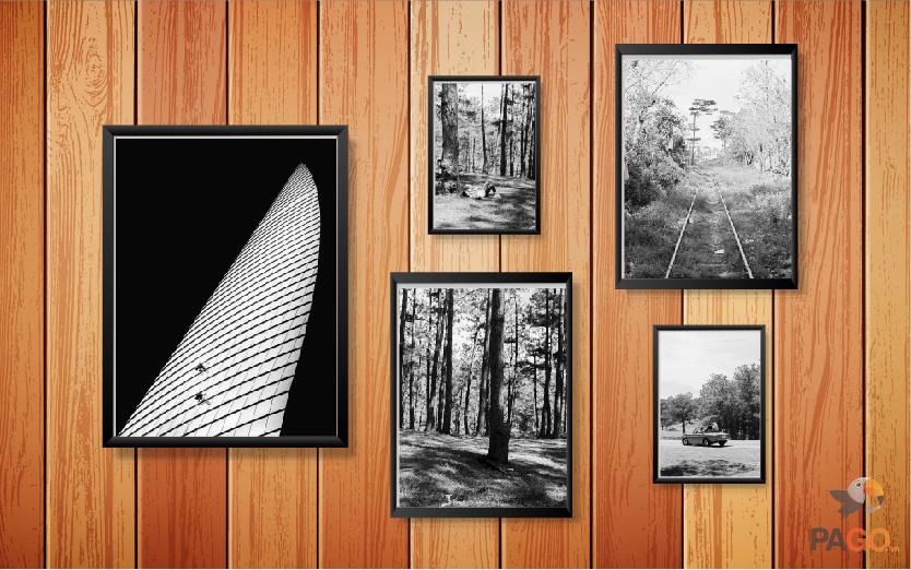 Combo 6 khung ảnh gỗ trang trí nghệ thuật kèm hình – C6-30201513